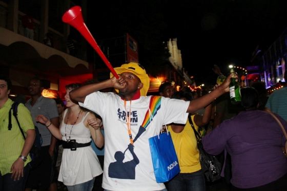 South African Football Supporter blowing the Vuvuzela