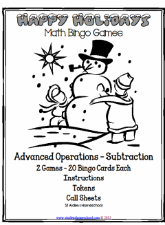 christmas advanced operations math bingo subtraction